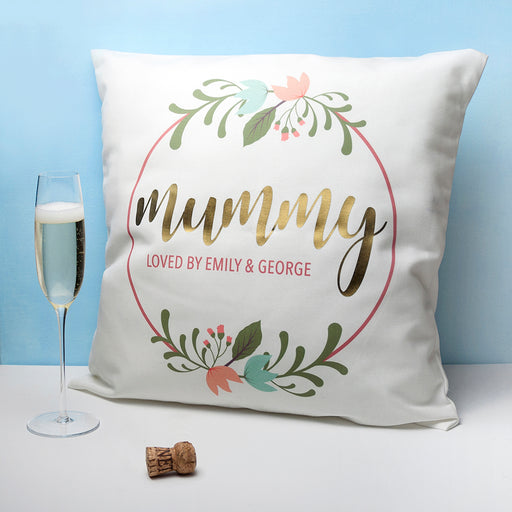 Personalised Floral Wreath Cushion Cover - www.pukkagifts.uk