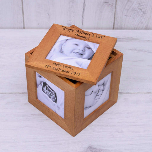 Personalised Happy Mothers Day Mummy Photo Frame Box Cube from Pukkagifts.uk