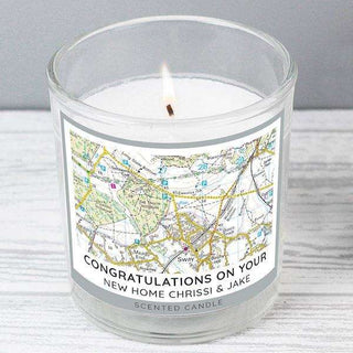 Personalised Present Day Map Compass Scented Jar Candle from Pukkagifts.uk