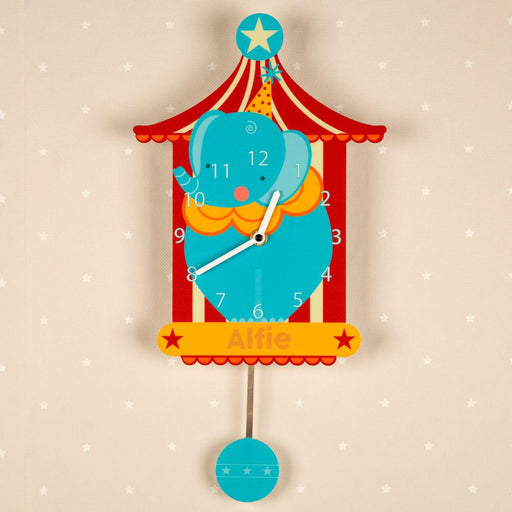 Personalised Pendulum Wall Clock - Circus Elephant