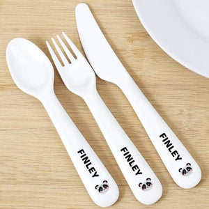 Personalised Panda Plastic Cutlery from Pukkagifts.uk