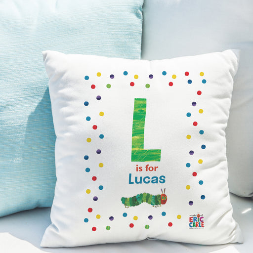 Personalised Very Hungry Caterpillar Spotty Initial Cushion