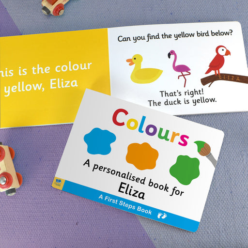 First Steps Colours Personalised Board Book from Pukkagifts.uk