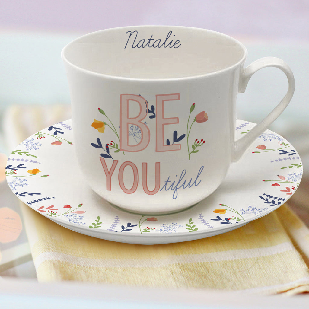 Personalised Be-you-tiful Cup & Saucer