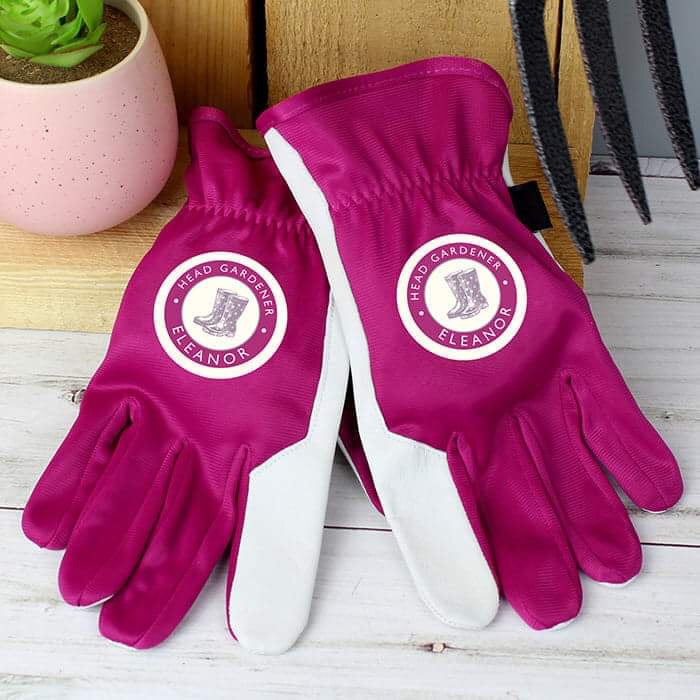Personalised Head Gardener Medium Fushia Gardening Gloves from Pukkagifts.uk