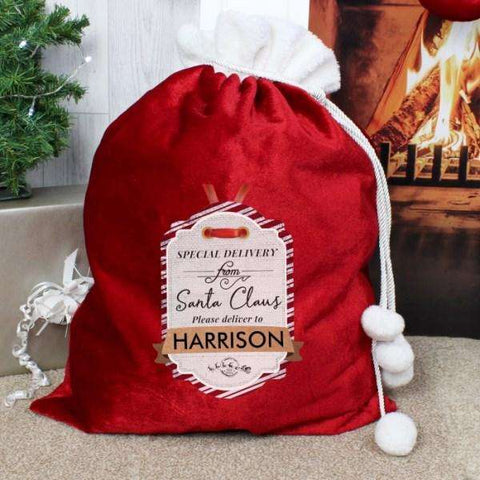 Personalised Special Delivery Pom Pom Luxury Christmas Sack,Pukka Gifts