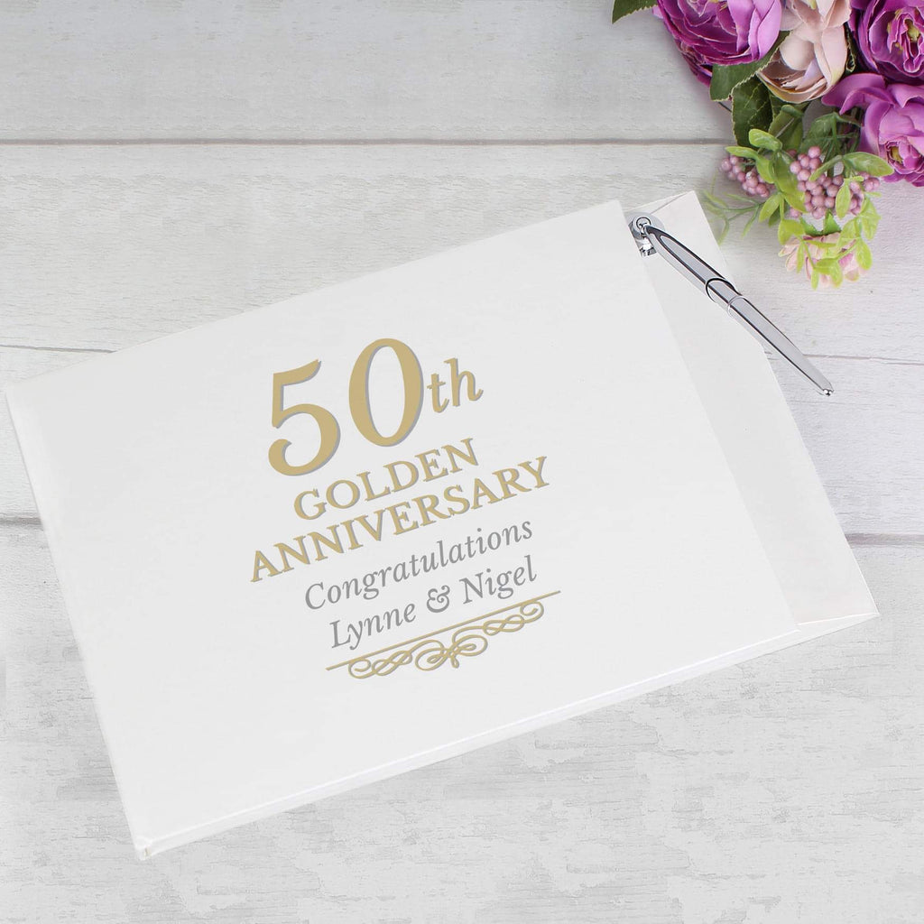 Personalised 50th Golden Anniversary Hardback Guest Book & Pen