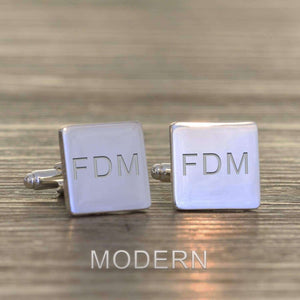 Engraved Initials Square Cufflinks from Pukkagifts.uk