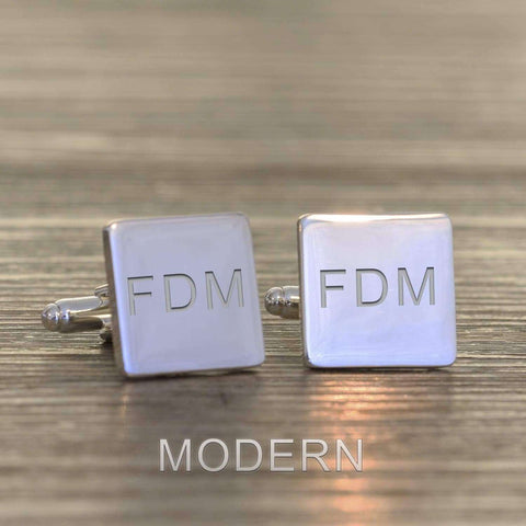 Engraved Initials Square Cufflinks,Pukka Gifts