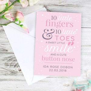 Personalised 10 Little Fingers & 10 Little Toes Baby Girl Card,Pukka Gifts