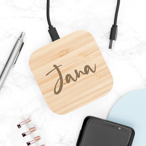 Personalised Bamboo Wireless Charger Pad