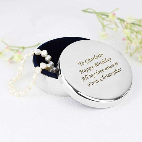 Personalised Round Trinket Box from Pukkagifts.uk