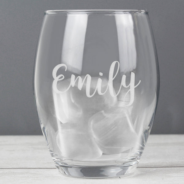 Personalised Name Stemless Wine Glass