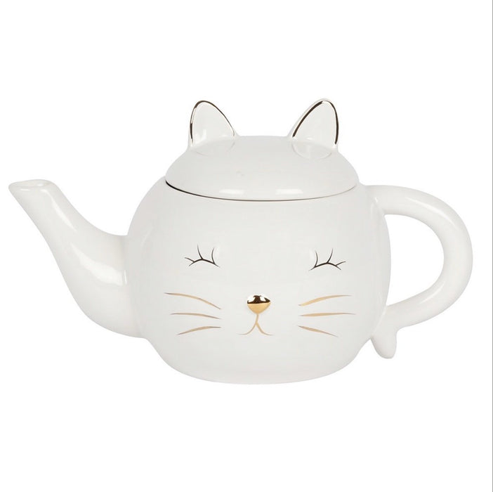 White Cat Face Teapot