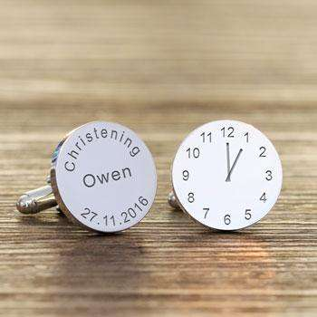 Personalised Christening Silver Plated Clock Engraved Cufflinks from Pukkagifts.uk