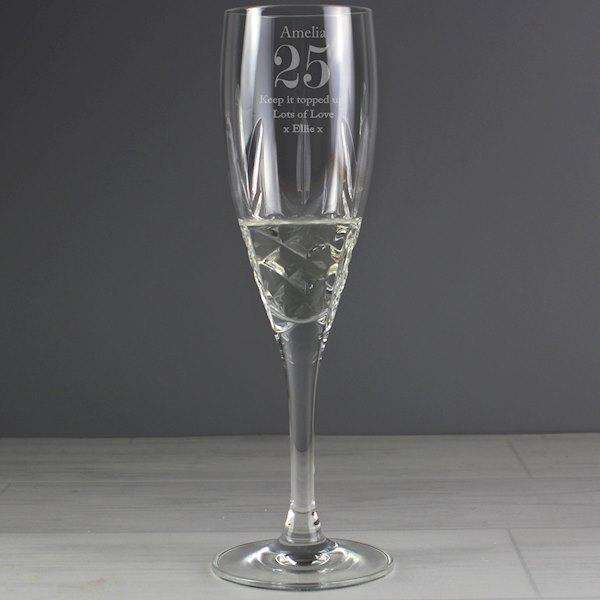 Personalised Special Occasion Cut Crystal Champagne Flute from Pukkagifts.uk