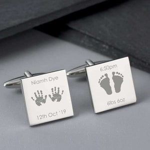 Personalised Hands and Feet New Baby Square Cufflinks from Pukkagifts.uk