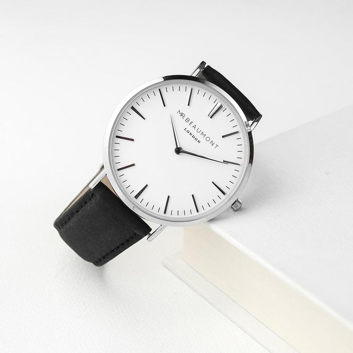 Personalised Men's Modern-Vintage Mr Beaumont Leather Watch In Black