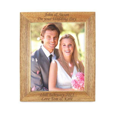 Personalised 8x10 Wooden Photo Frame, 4 lines of text from Pukkagifts.uk
