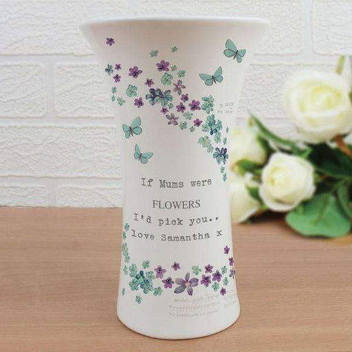 Personalised Forget me not Ceramic Waisted Vase from Pukkagifts.uk