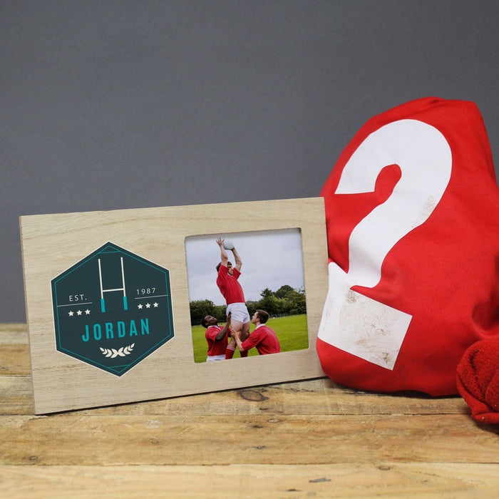 Personalised Rugby Photo Frame from Pukkagifts.uk