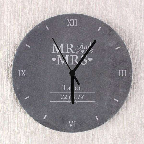 Personalised Mr & Mrs Slate Clock from Pukkagifts.uk