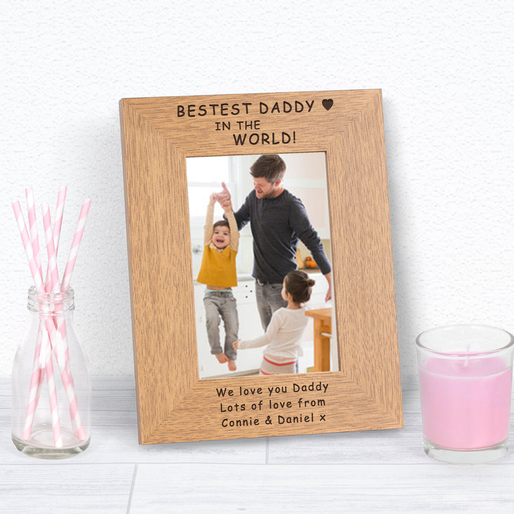 Personalised Bestest Daddy In The World Photo Frame from Pukkagifts.uk