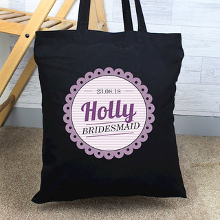 Personalised Frills Black Cotton Bag