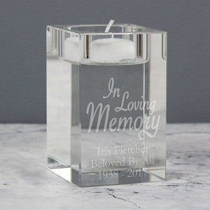 Personalised In Loving Memory Glass Tea Light Candle Holder from Pukkagifts.uk