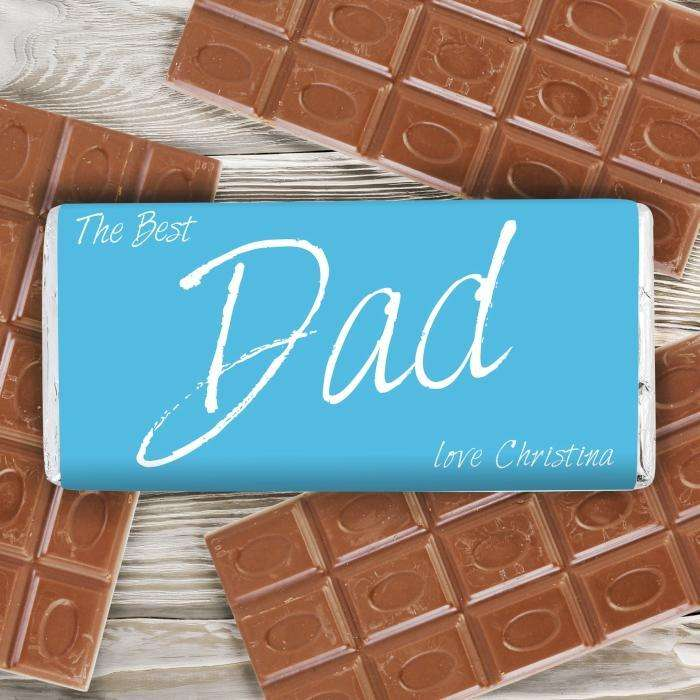 Personalised The Best Dad Milk Chocolate Bar Free UK Delivery from Pukkagifts.uk