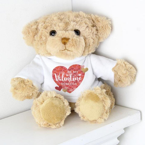 Personalised Be My Valentine Confetti Hearts Teddy Bear | Valentines Day Gift