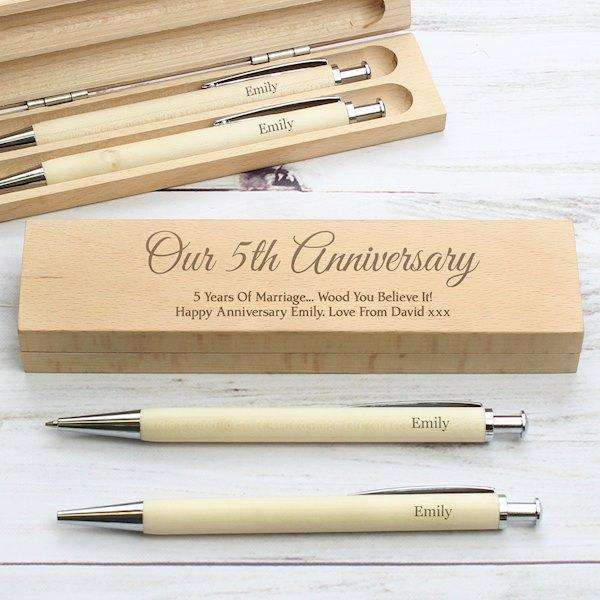 Personalised Any Message Wooden Pen & Pencil Box Set from Pukkagifts.uk