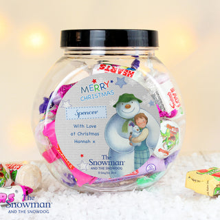 Personalised The Snowman and the Snowdog Blue Sweet Jar