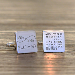 Personalised Mr & Mrs Infinity Cufflinks - www.pukkagifts.uk