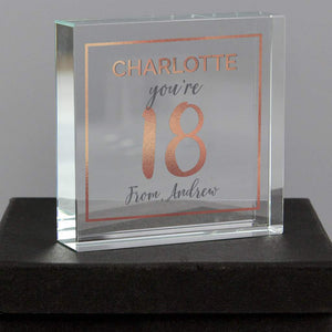 Personalised 18th Birthday Rose Gold Crystal Token from Pukkagifts.uk