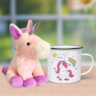 Personalised Unicorn Enamel Mug & Plush
