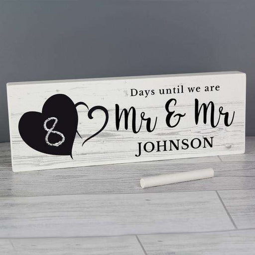 Personalised Wedding Countdown Wooden Block Sign With Chalkboard Heart from Pukkagifts.uk