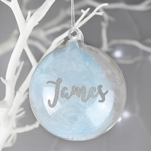 Personalised Silver Glitter Blue Feather Name Glass Bauble