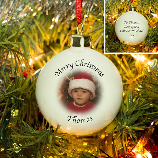 Personalised Upload Photo And Message Bone China Bauble from Pukkagifts.uk