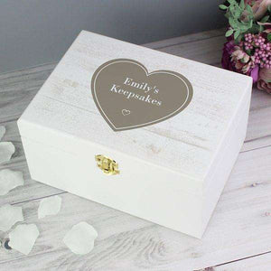 Personalised Rustic Heart White Wooden Keepsake Box,Pukka Gifts