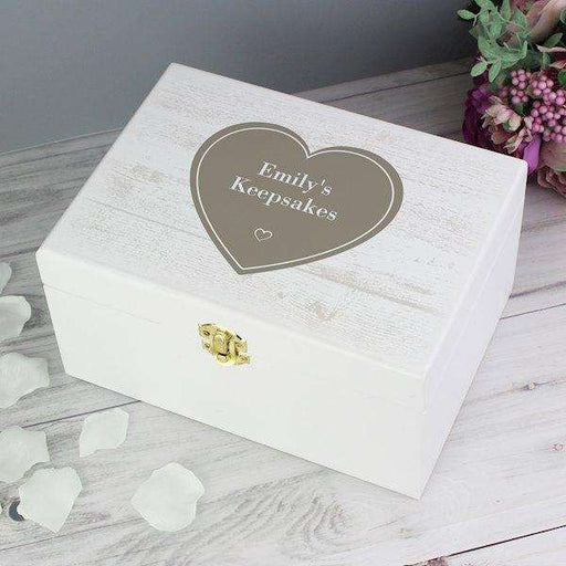 Personalised Rustic Heart White Wooden Keepsake Box from Pukkagifts.uk