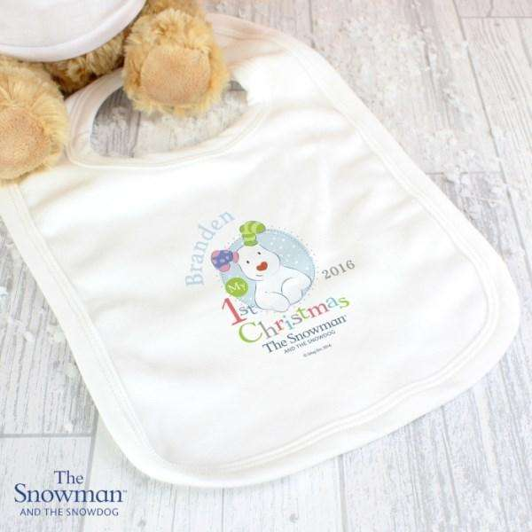 Personalised The Snowman and the Snowdog My 1st Christmas Blue Bib from Pukkagifts.uk