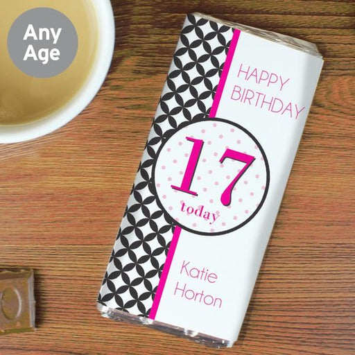 Personalised Harlequin Birthday Age Milk Chocolate Bar Free UK Delivery from Pukkagifts.uk