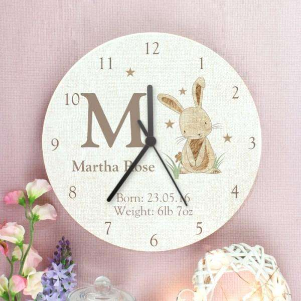 Personalised Hessian Rabbit Shabby Chic Wooden Clock from Pukkagifts.uk