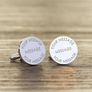 Engraved Any Message Personalised Cufflinks from Pukkagifts.uk