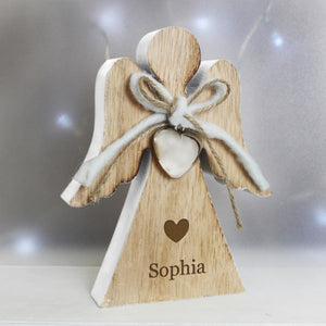 Personalised Heart Motif Rustic Wooden Angel Decoration from Pukkagifts.uk