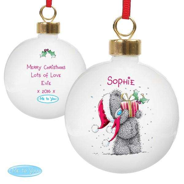 Personalised Me To You Christmas Bauble from Pukkagifts.uk