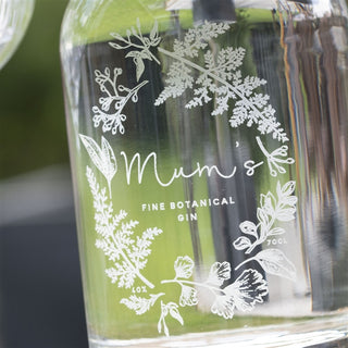 Premium Engraved Wreath Botanical Gin Bottle