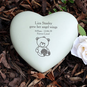 Personalised Teddy Bear Heart Memorial from Pukkagifts.uk