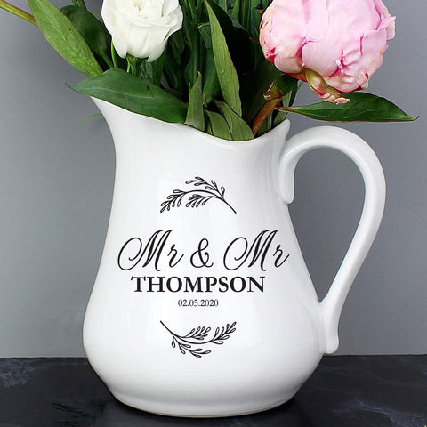 Personalised Classic Wedding Ceramic Flower Jug From Pukkagifts.uk